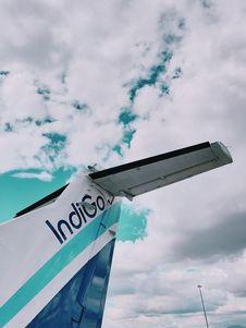 Free Blue And White Indigo Plane Tail Under White Sky Stock Photos - 132293193