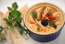 Free Fresh Hummus And Pita Bread Royalty Free Stock Image - 132293256