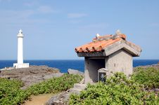 Free Small Shrine With Light House Royalty Free Stock Image - 13260006