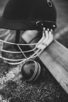 Free Grayscale Photo Of Batting Helmet Stock Image - 132670681