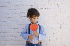 Free Photo Of Boy Holding Heart-shape Paper On Stick Royalty Free Stock Image - 132760906