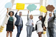 Free Five Standing People Holding Message Clouds Stock Photo - 132859300