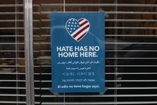 Free Blue And White Hate Has No Home Here Printed Signage Stock Photo - 132859350