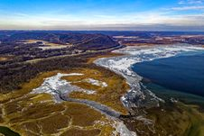 Free Aerial View Of Body Of Water, Land Formation, And Mountain Royalty Free Stock Photo - 132859555
