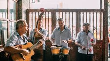 Free Group Of Men Playing Instruments Royalty Free Stock Photo - 132944795