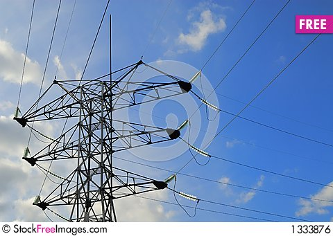 High voltage wires. Close up Stock Photo
