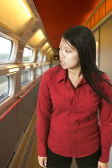Free Woman In High Speed Train Stock Photos - 1331253