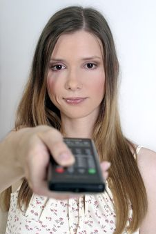 Free Disgusted Woman With A Remote Control Stock Photos - 1331313