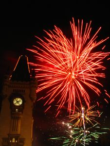 Sparkling Fireworks In The Sky Over The Palace Stock Image