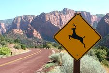 Free Deer Ahead Road Sign Stock Image - 1334601