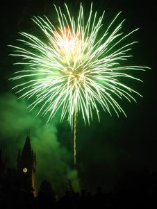 Sparkling Fireworks Over The Palace. Royalty Free Stock Photo
