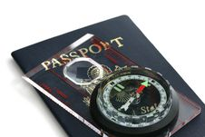 Passport And Compass Stock Photos