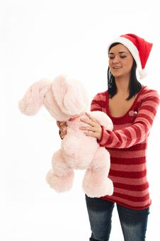 Free Young Beauty Girl In Sweater  And Santa Wear With Pink Rabbi Stock Photos - 1336633