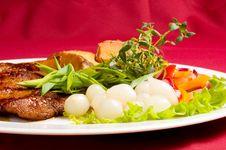 Free Pork Steak With Baked Potatoes Royalty Free Stock Photo - 1337815