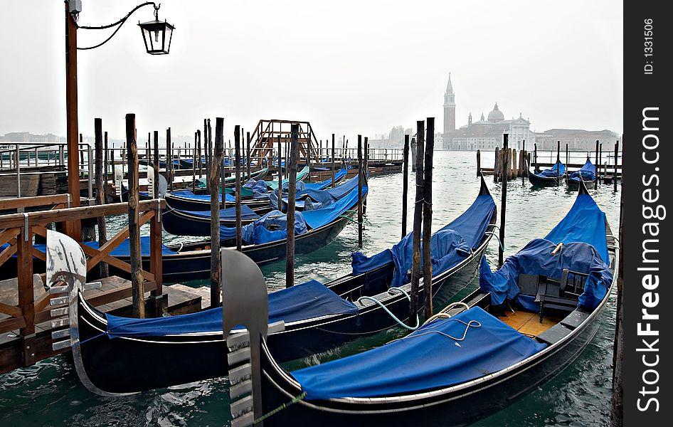 Venice view with gondolas.