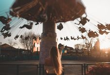 Free People Riding Ride At Theme Park Royalty Free Stock Images - 133489769