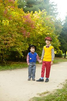 Free Two Boys Standing On Pathway Stock Photo - 133729220