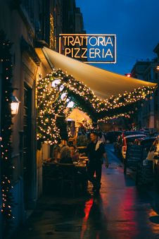 Free Man Standing Outside Trattoria Pizzeria Store Royalty Free Stock Photo - 133968695