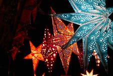 Free Lighted Christmas Stars Royalty Free Stock Photo - 133968775