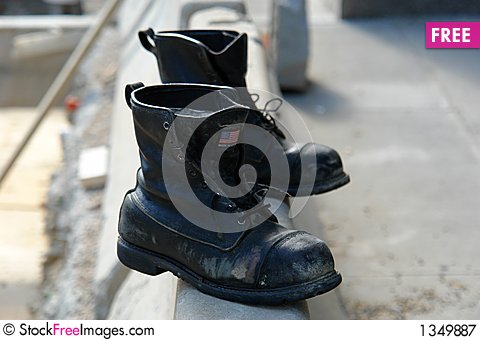 Old boots made in the USA Stock Photo