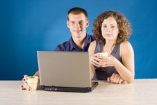 Free Young Couple At The Table With Laptop Stock Photo - 1340320