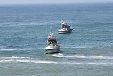 Free Two Coast Guard Boats In Rescue Operation Royalty Free Stock Photography - 1340637