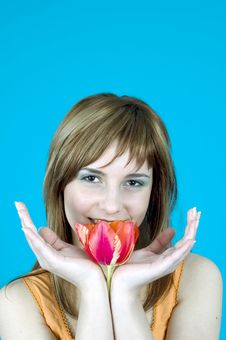 Free Smiling Behind A Tulip Royalty Free Stock Photo - 1341485