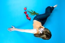 Free Teen And Tulips Stock Photos - 1341513
