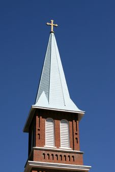 Free Church Steeple Against Blue Sk Royalty Free Stock Image - 1346746