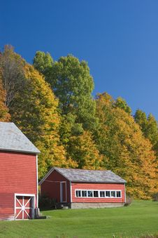 Free Red Barns In Autumn Stock Photo - 1348730