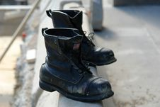 Free Old Boots Made In The USA Royalty Free Stock Photography - 1349887