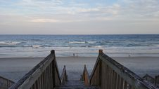 Free Gray Wooden Stairs Near Seashore With Waves Royalty Free Stock Image - 134421346