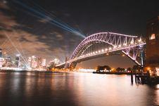 Free Purple Concrete Bridge Across Body Of Water Royalty Free Stock Images - 134421479