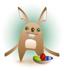 Smiling Easter Bunny Presents His Eggs Stock Image