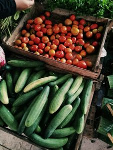 Free Photo Of Cucumbers And Tomatoes In Wooden Crates Stock Images - 134821944
