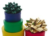 Free Stacked Gift Boxes And Bows Royalty Free Stock Photos - 1355468