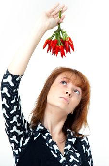 Free Girl With Chilli Royalty Free Stock Photo - 1357165
