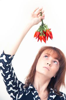 Free Girl With Chilli Stock Images - 1357204
