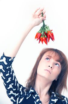 Free Girl With Chilli Stock Image - 1357221