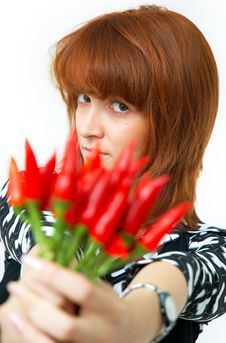 Free Girl With Chilli Royalty Free Stock Images - 1357239