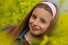 Free Girl In Yellow Flowers Royalty Free Stock Photography - 1357717