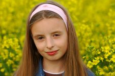 Free Girl In Yellow Flowers Stock Image - 1358121