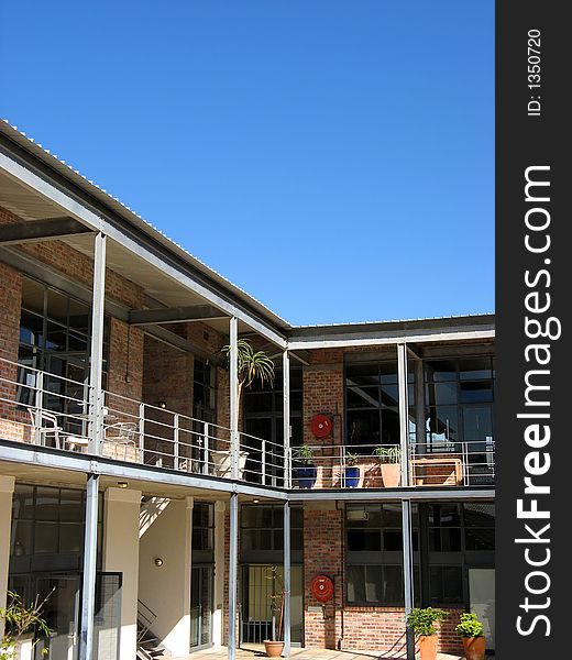 Modern industrial building courtyard