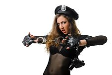 Beautiful Policewoman With Handcuffs Stock Photography