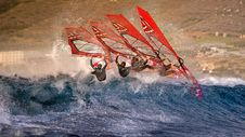 Free Continuous Shot Of A Windsurfer Riding A Wave Stock Photography - 135065612
