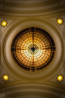 Free Yellow, Ceiling, Stained Glass, Dome Stock Image - 135105491