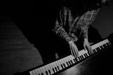 Free Keyboard Player, Black And White, Musical Keyboard, Musical Instrument Royalty Free Stock Image - 135105696