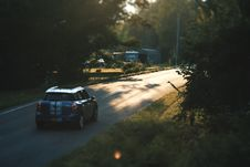 Free Blue Mini Cooper On Road Stock Photo - 135195420