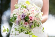 Free Selective Focus Photography Of Bride Holding Pink And Purple Hybrid Tea Rose Flowers And White Queen Anne S Lace Flowers Bouq Stock Images - 135195524