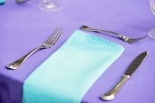 Free Stainless Steel Forks Next To Napkin Stock Image - 135195571